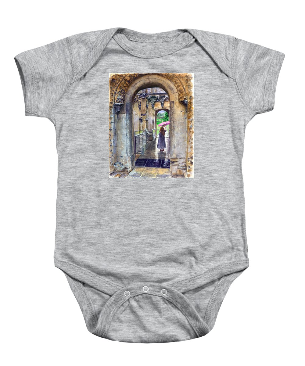 Glastonbury Baby Onesie featuring the painting Lady Chapel by John D Benson