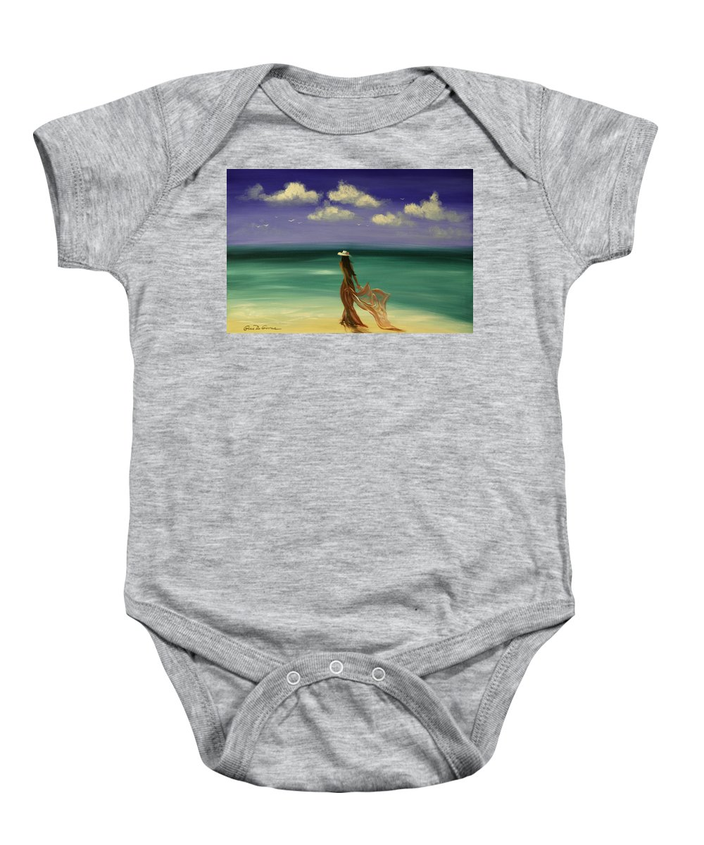 Nice Baby Onesie featuring the painting Lady in Red by Gina De Gorna