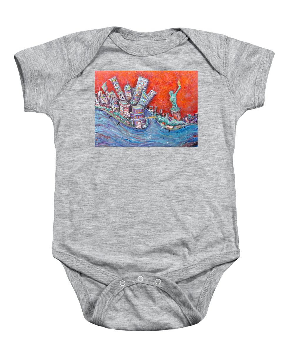 Statue Of Liberty New York City Wall Steet Manhattan Hudson River New Jersey State Park Ellis Island Baby Onesie featuring the painting Lady Liberty by Jason Gluskin