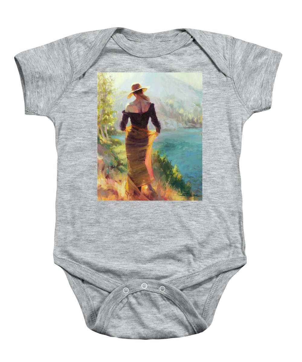 Woman Baby Onesie featuring the painting Lady of the Lake by Steve Henderson