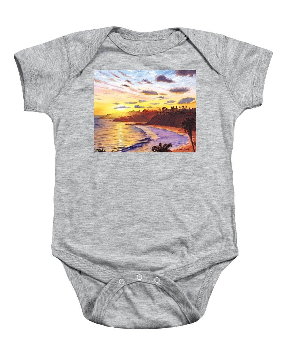 Laguna Beach Baby Onesie featuring the painting Laguna Village Sunset by Steve Simon