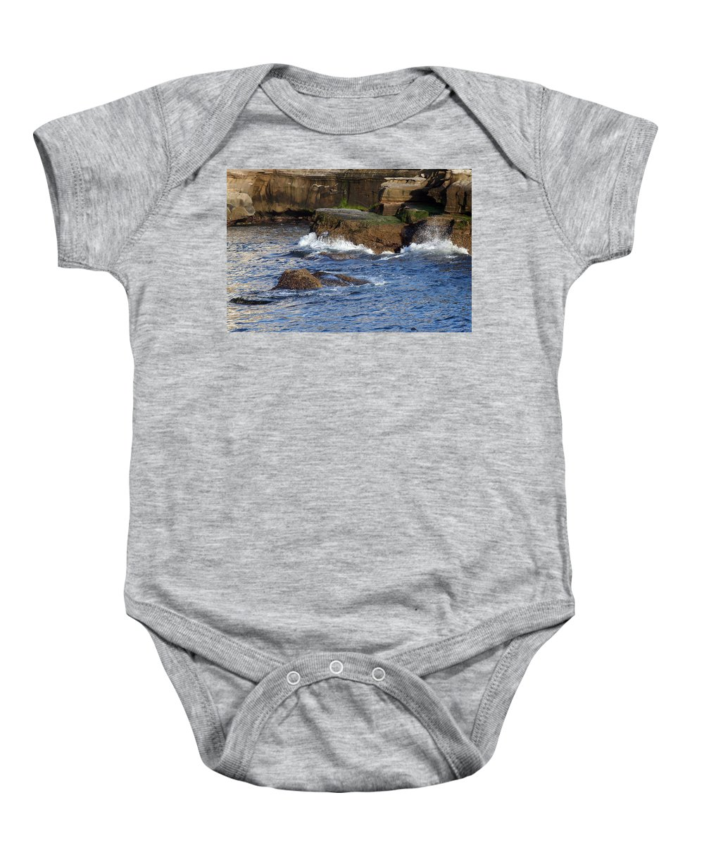 Ocean Baby Onesie featuring the photograph Lajolla Rocks by Margie Wildblood