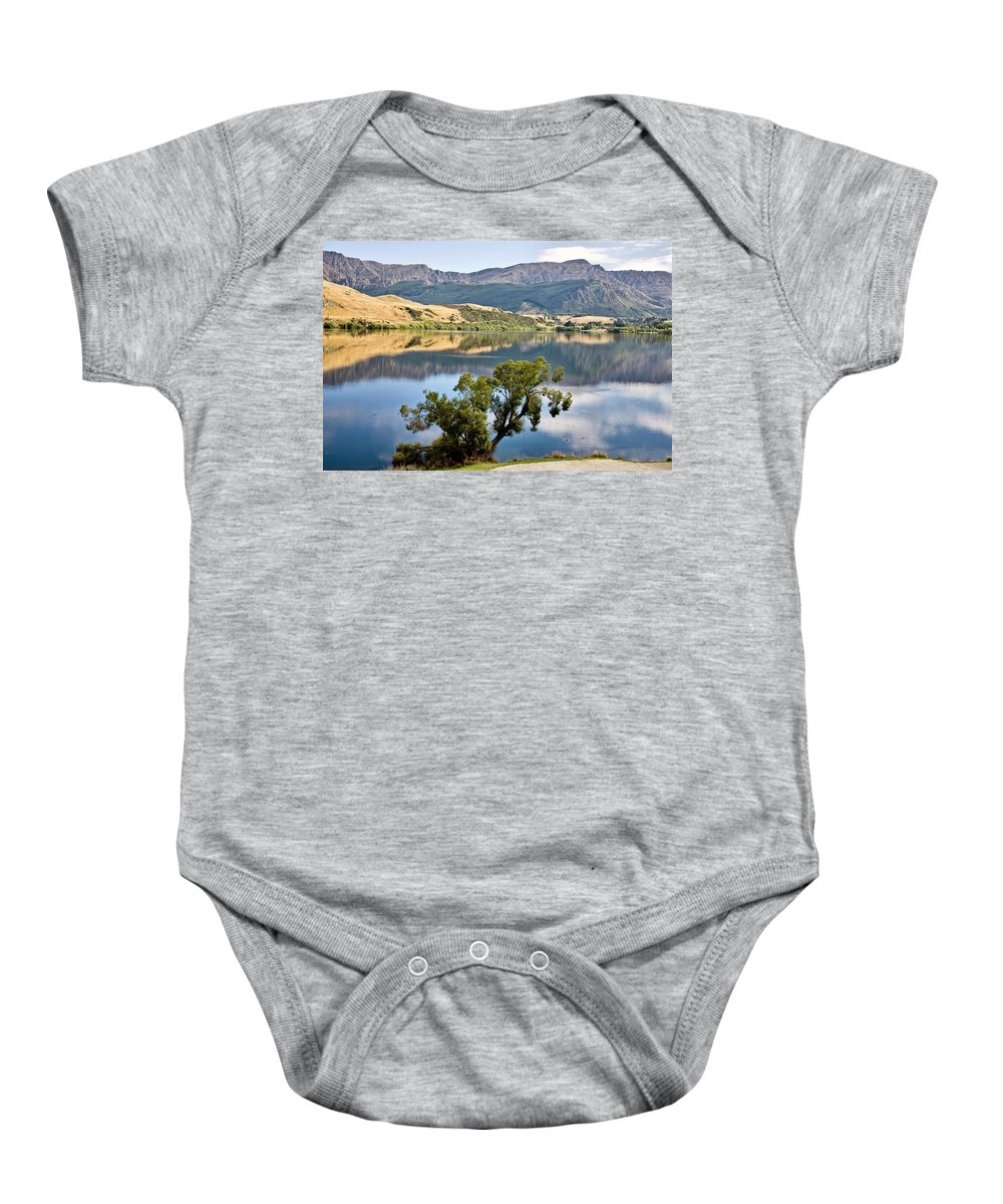 Nature Baby Onesie featuring the photograph Lake Hayes New Zealand by Mark Duffy