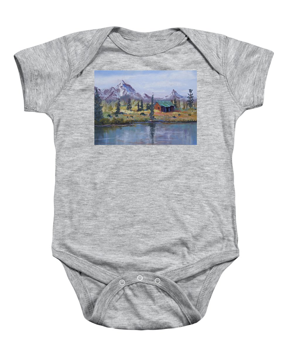 Pastel Landscape Baby Onesie featuring the painting Lake Jenny Cabin Grand Tetons by Heather Coen