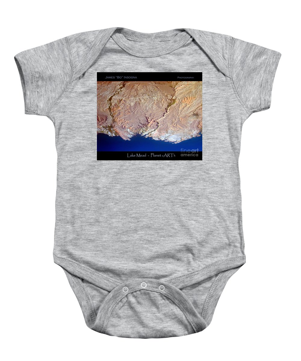 Aerial Baby Onesie featuring the photograph Lake Mead - Planet Art by James BO Insogna