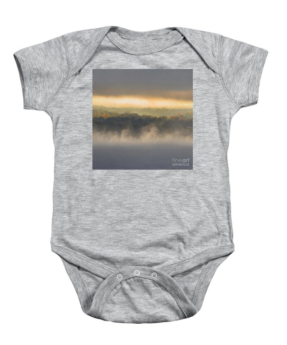 Baby Onesie featuring the photograph Lake Mist Triptych II by Michele Steffey
