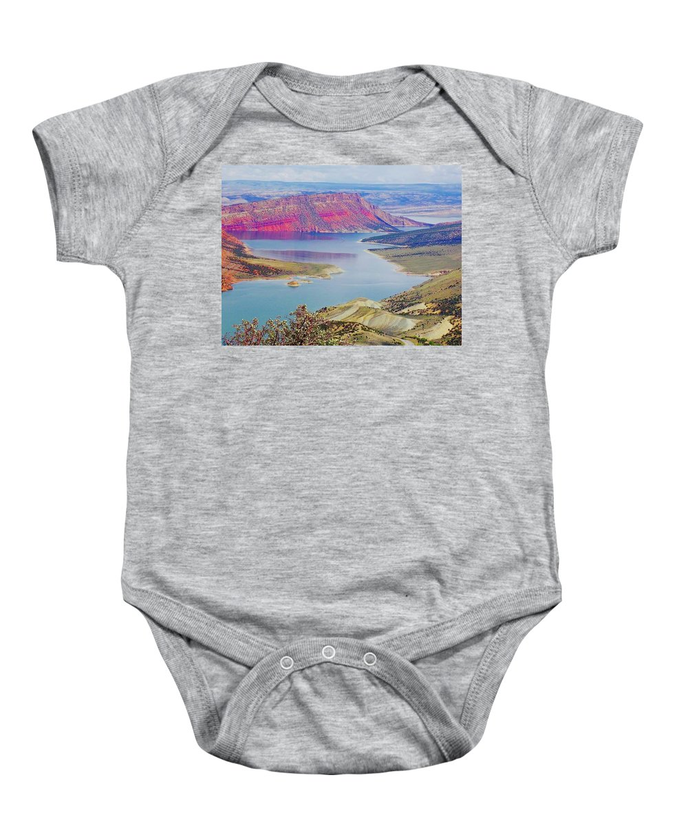Lake Baby Onesie featuring the painting Lake by Renee Giegoldt