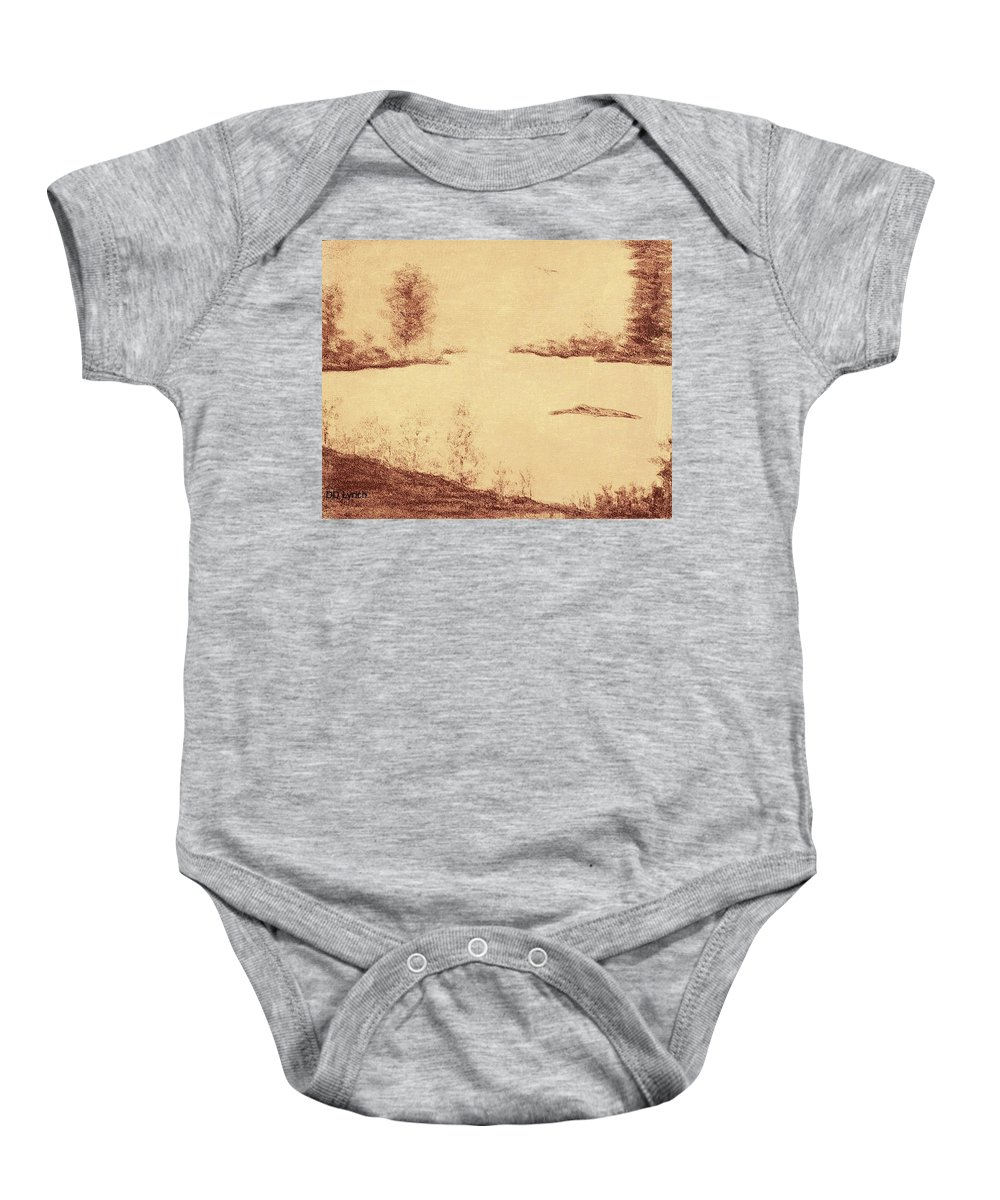 Lake Baby Onesie featuring the painting Lake Scene On Parchment by Debra Lynch
