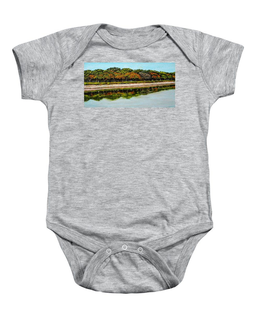 Lakeside Baby Onesie featuring the painting Lakeside Joggers Path by Usha Shantharam