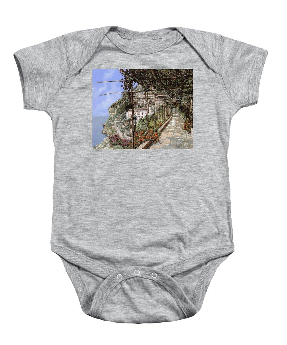 Landscape Baby Onesie featuring the painting L'albergo Dei Cappuccini-costiera Amalfitana by Guido Borelli