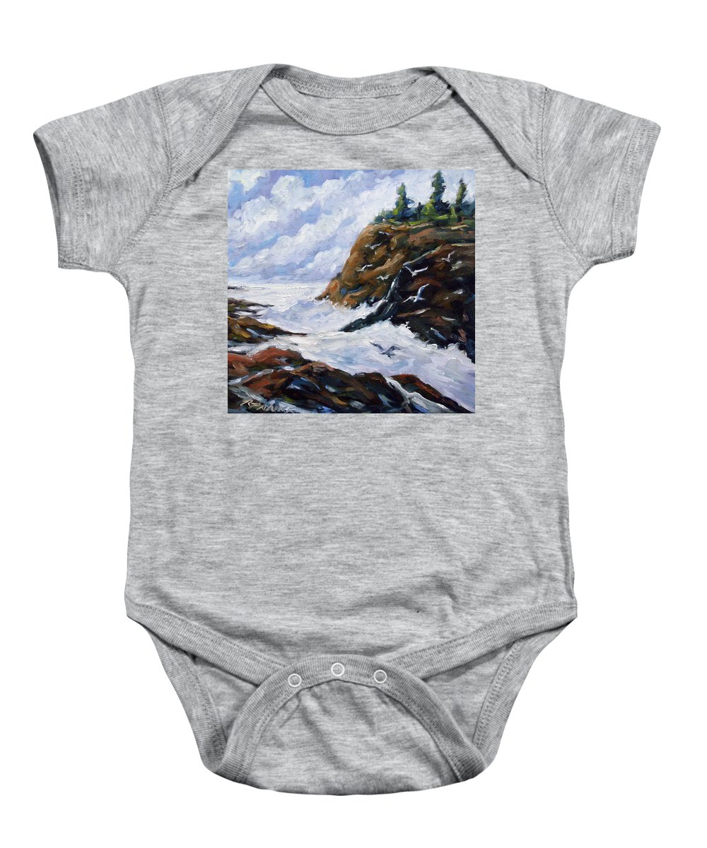 Art Baby Onesie featuring the painting Lands End by Richard T Pranke