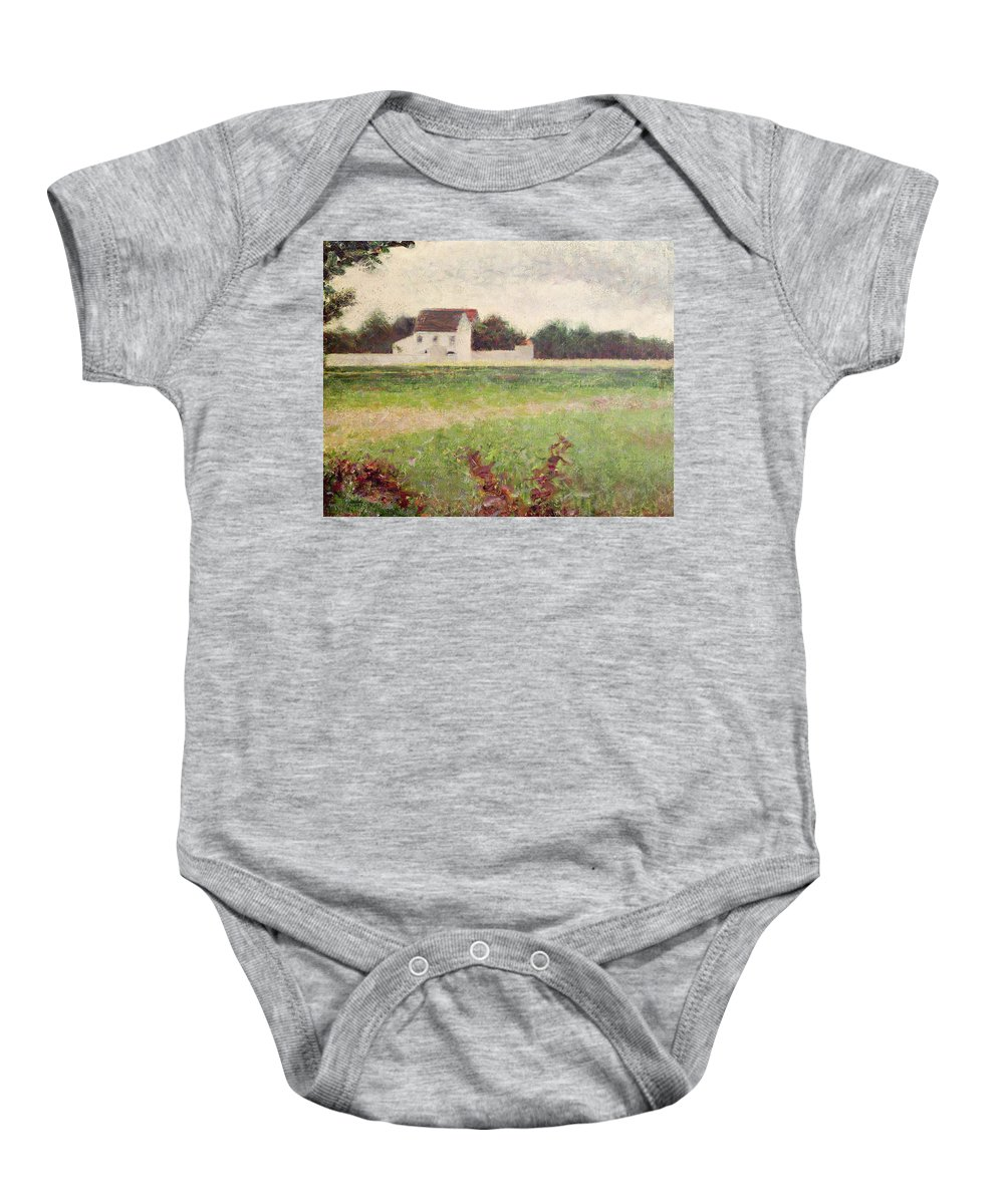 Seurat Baby Onesie featuring the painting Landscape In The Ile De France by Georges Pierre Seurat
