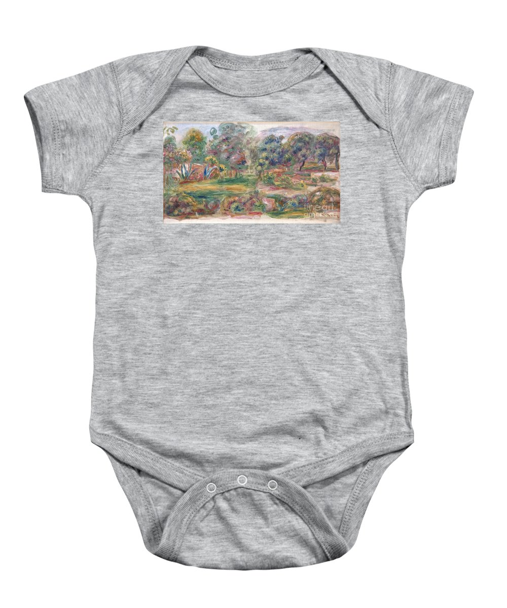 Auguste Renoir Baby Onesie featuring the painting Landscape Near Cagnes by Celestial Images