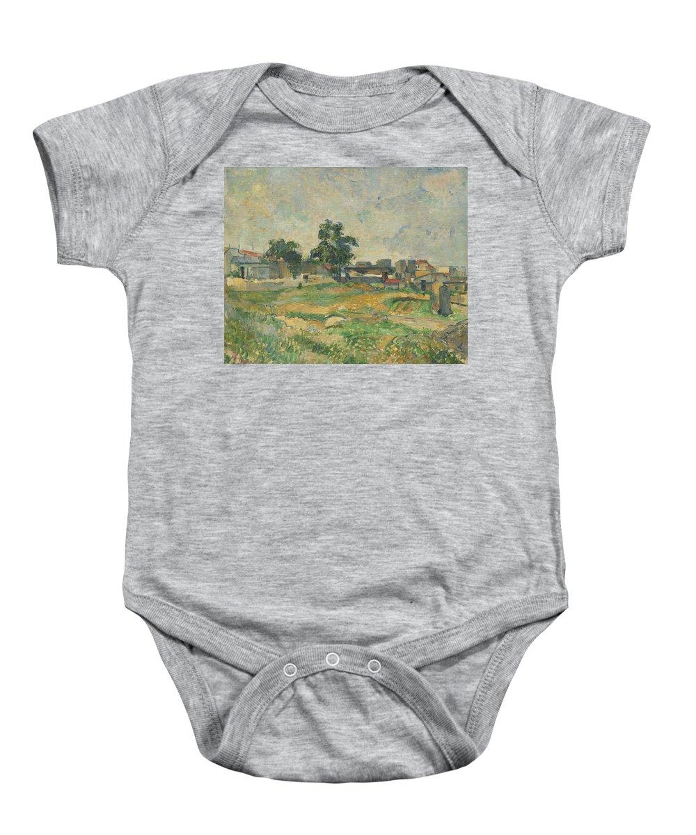 Landscape Baby Onesie featuring the painting Landscape Near Paris by Paul Cezanne