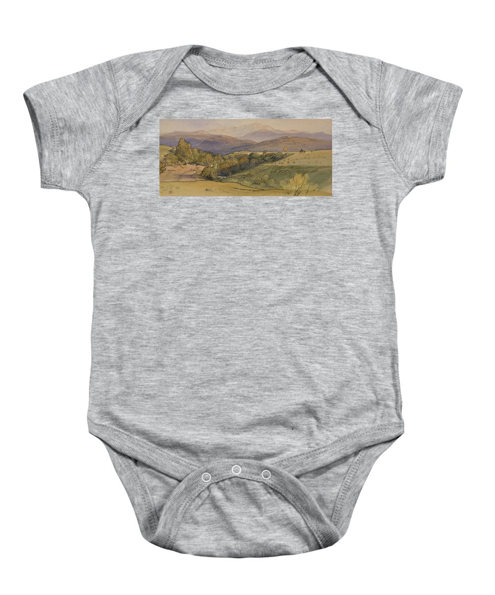 William Leighton Leitch (1804-83) Landscape With Lochnagar In The Distance Dated 6 Oct 1863 Baby Onesie featuring the painting landscape with Lochnagar in the distance by William Leighton