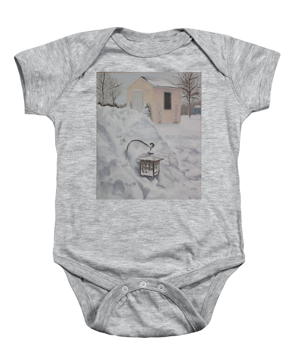 Snow Baby Onesie featuring the painting Lantern In The Snow by Lea Novak