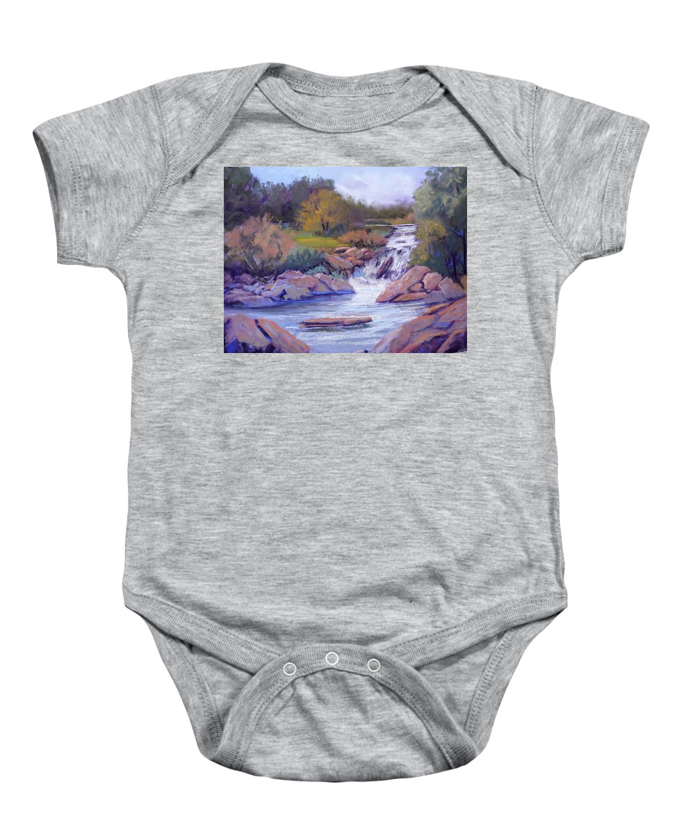 Pastel Baby Onesie featuring the painting Larsen Falls by Heather Coen