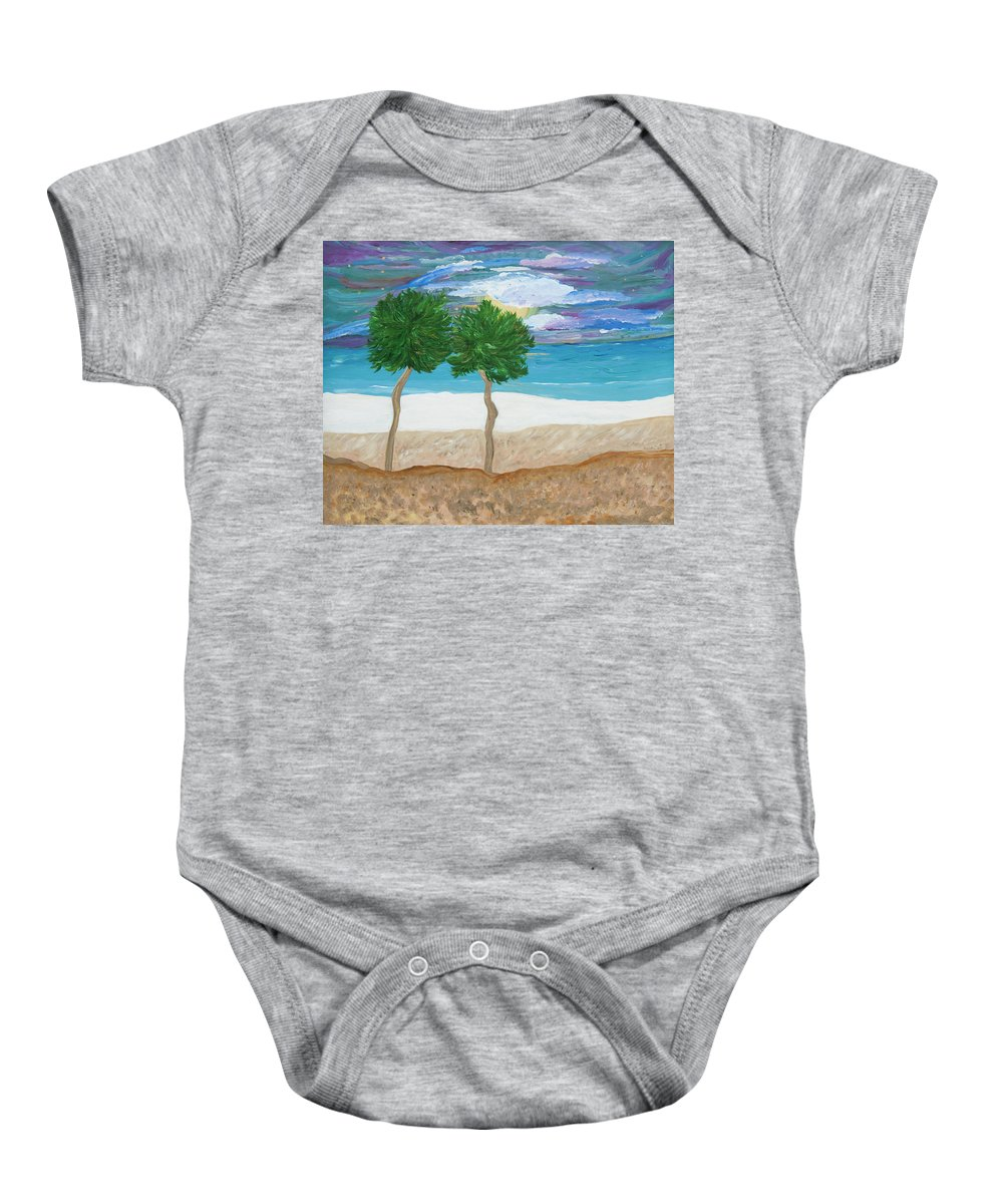 Landscape Baby Onesie featuring the painting Last First Kiss by Sara Credito