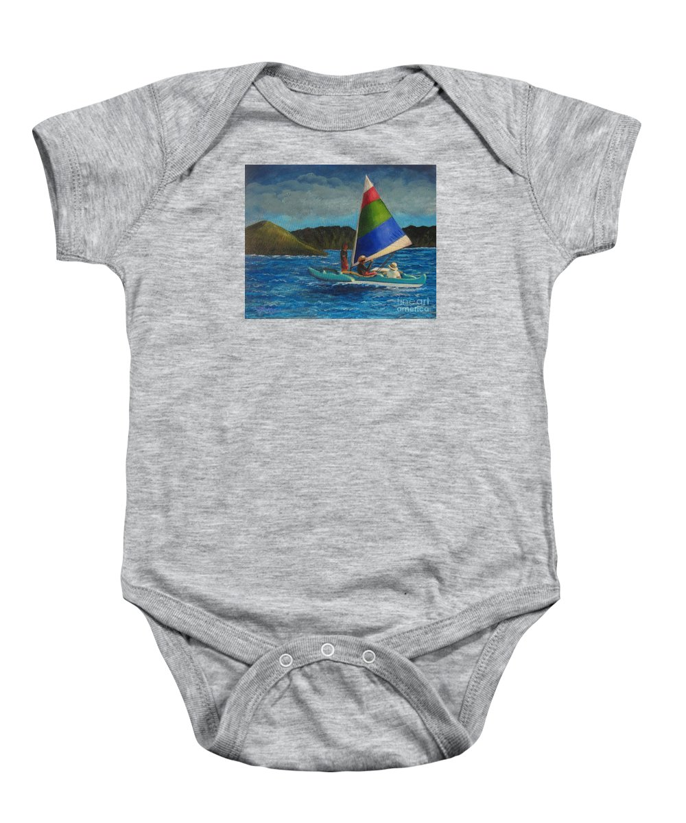 Sailboats Baby Onesie featuring the painting Last Sail Before The Storm by Laurie Morgan