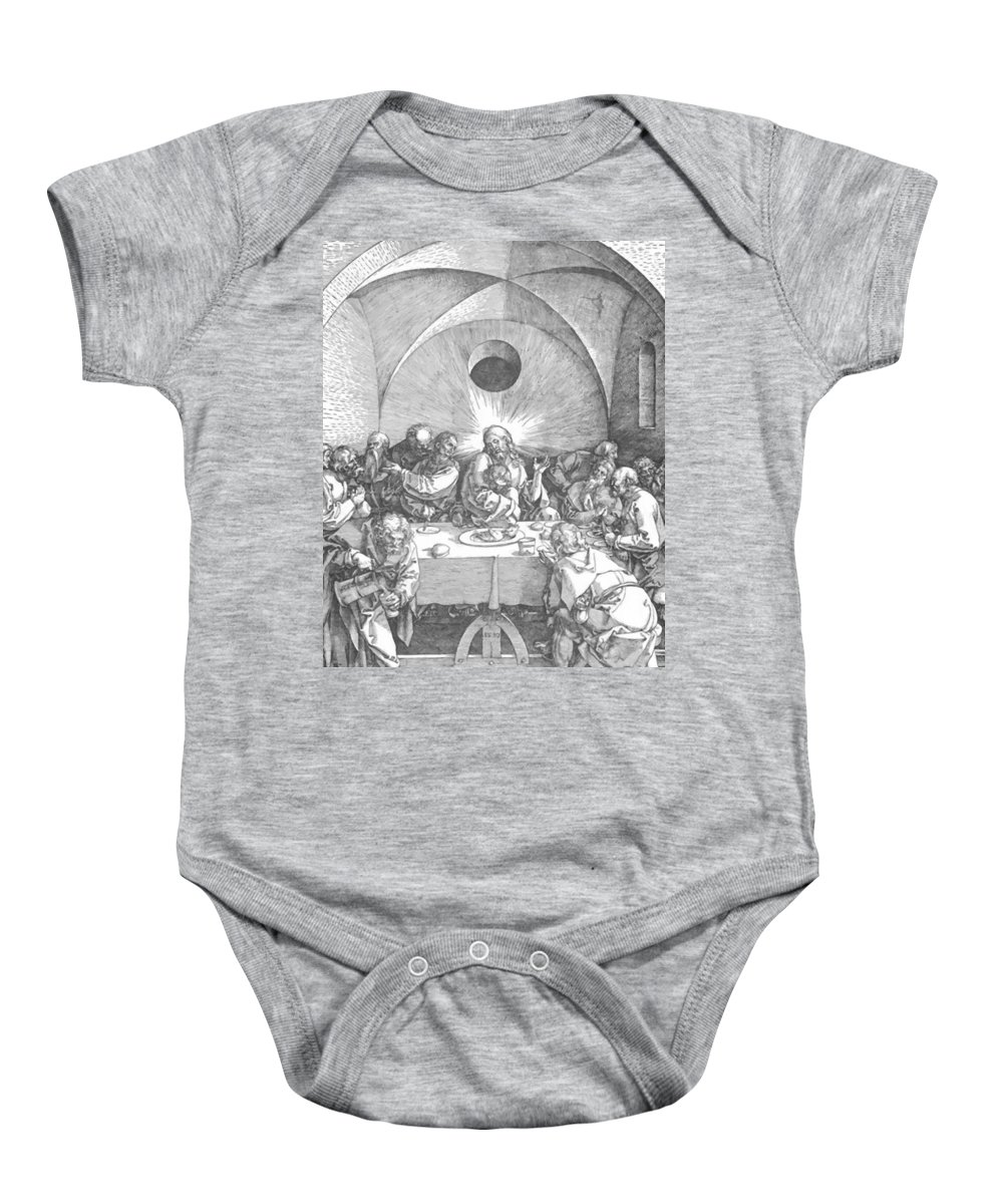 Last Baby Onesie featuring the painting Last Supper 1510 by Durer Albrecht