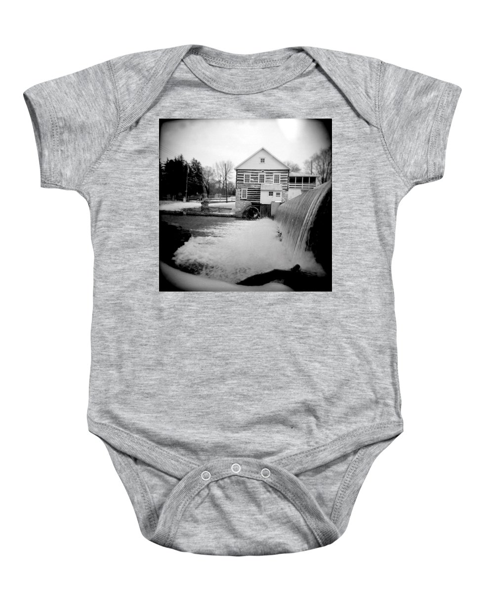 Photograph Baby Onesie featuring the photograph Laughlin Mill by Jean Macaluso
