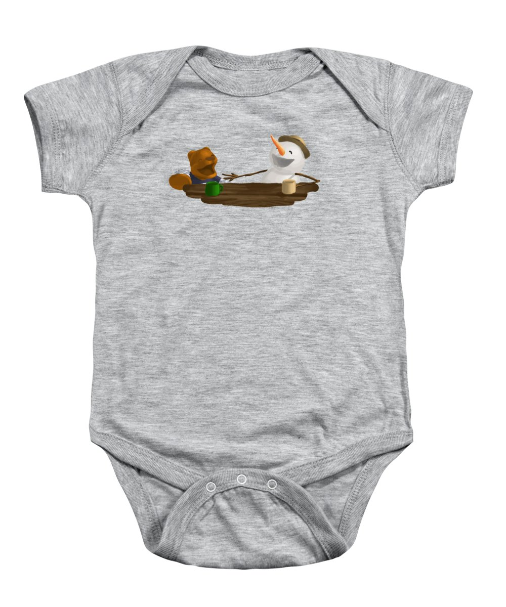Bear Baby Onesie featuring the painting Laughter by Jason Sharpe