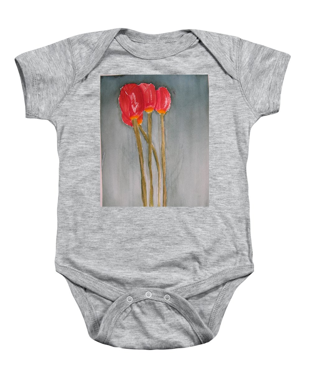 Tulip Flower Bouquet Baby Onesie featuring the painting Laura by Patricia Caldwell