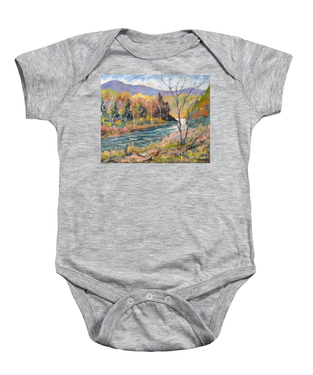 Landscape Baby Onesie featuring the painting Laurentian Hills by Richard T Pranke