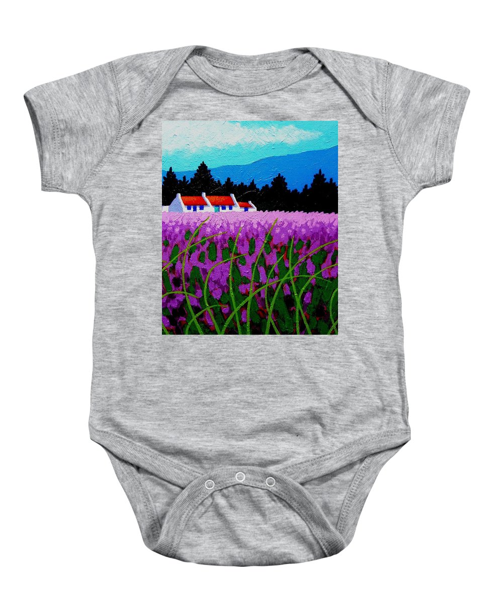Lavender Baby Onesie featuring the painting Lavender Field - County Wicklow - Ireland by John Nolan