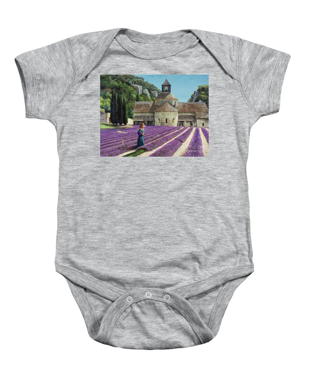 Field; Abbey; Church; Picking; Girl; Flowers; Abbaye Senanque; Provence; Tree; Trees; Lavender Baby Onesie featuring the painting Lavender Picker - Abbaye Senanque - Provence by Trevor Neal