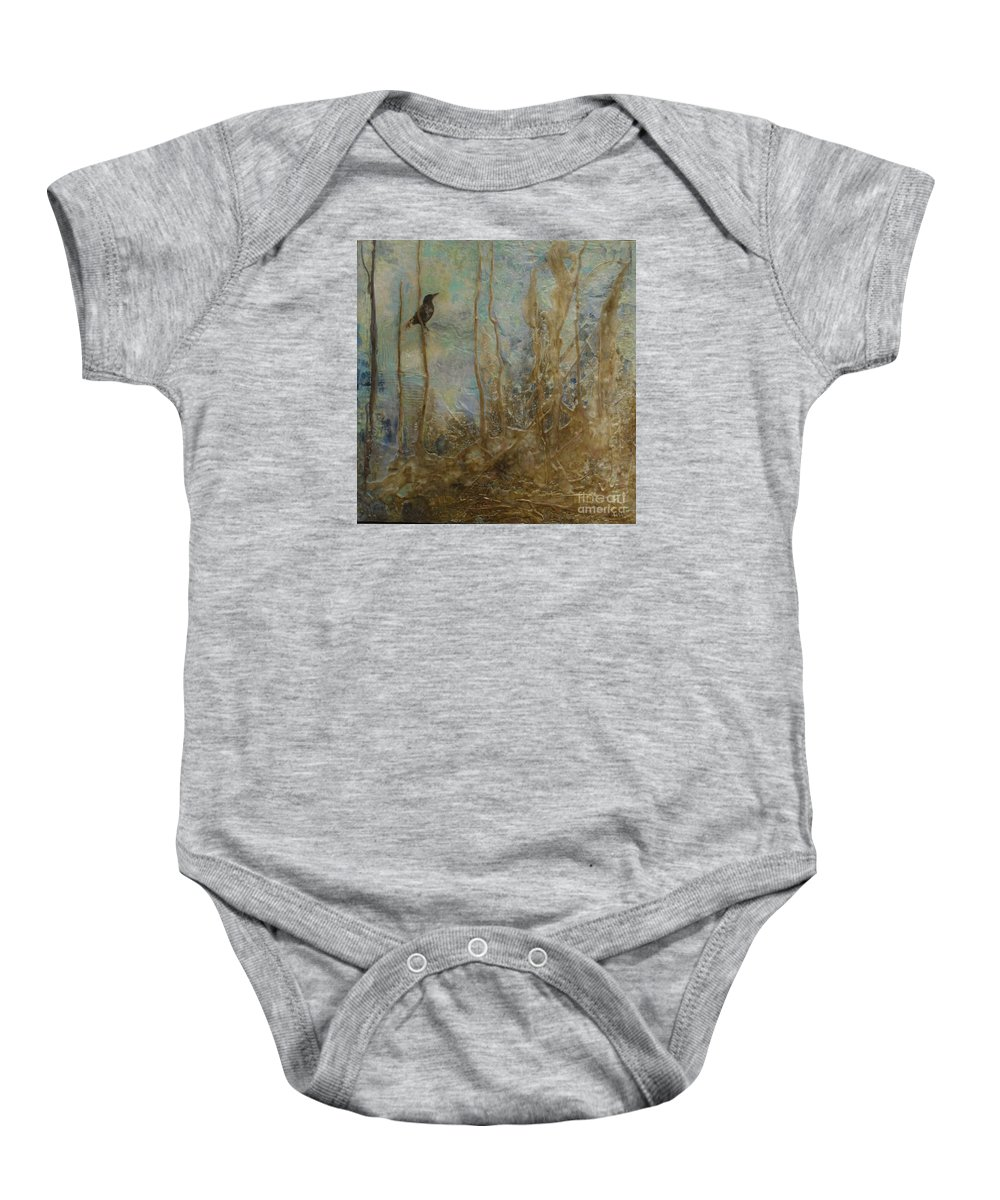 Bird Baby Onesie featuring the painting Lawbird by Heather Hennick