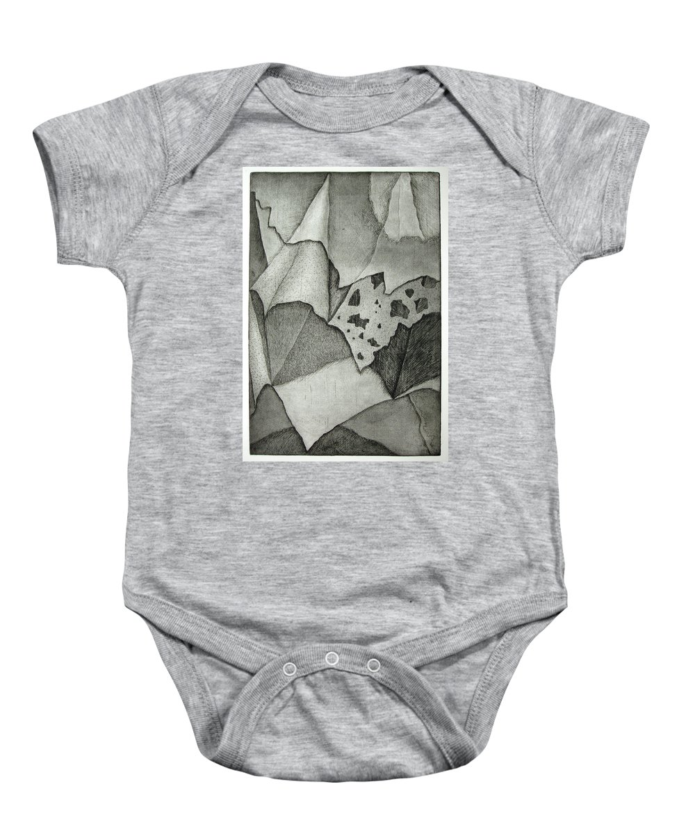 Etching Baby Onesie featuring the drawing Layers by Nancy Mueller