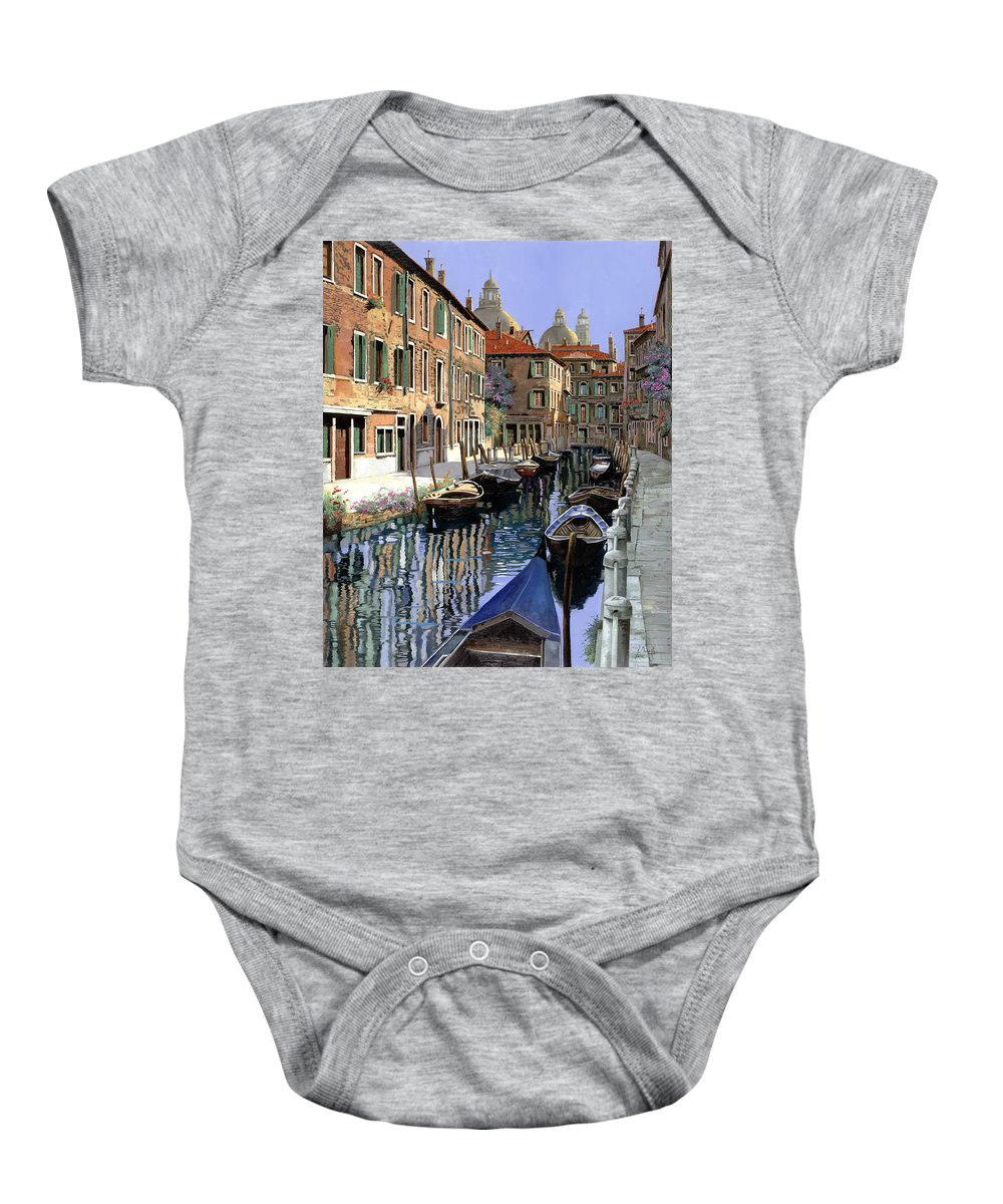 Venice Baby Onesie featuring the painting Le Barche Sul Canale by Guido Borelli