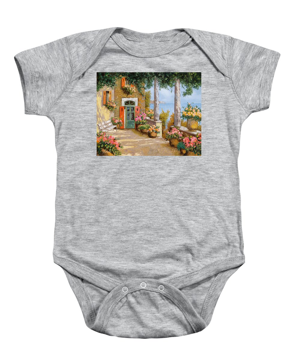 Terrace Baby Onesie featuring the painting Le Colonne Sulla Terrazza by Guido Borelli