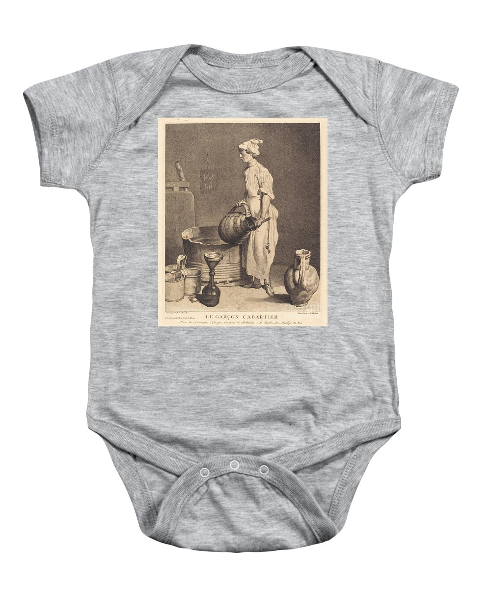 Baby Onesie featuring the drawing Le Garcon Cabaretier by Charles-nicolas Cochin I After Jean Sim?on Chardin