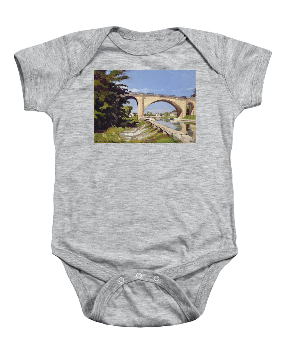 Pont Baby Onesie featuring the painting Le Pont Canal A Briare by Henri Joseph Harpignies