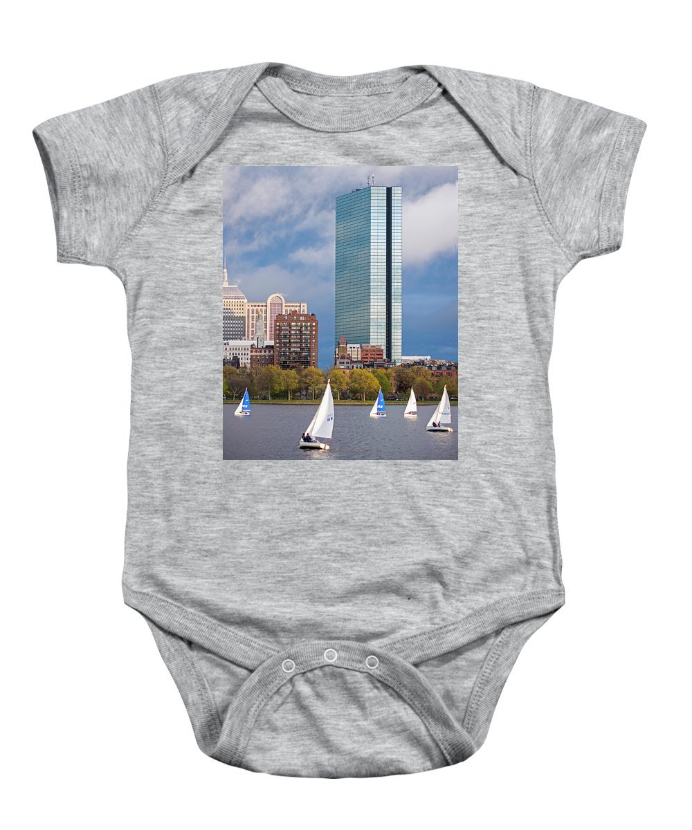 Boston Baby Onesie featuring the photograph Lean Into It- Sailboats By The Hancock On The Charles River Boston Ma by Toby McGuire