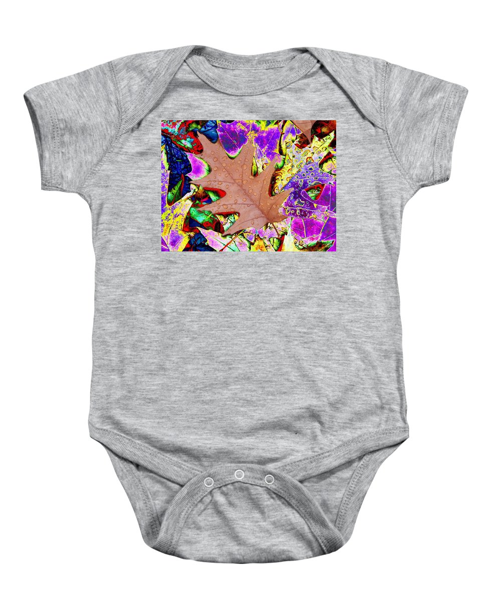 Leaves Baby Onesie featuring the photograph Leaves And Rain 4 by Tim Allen