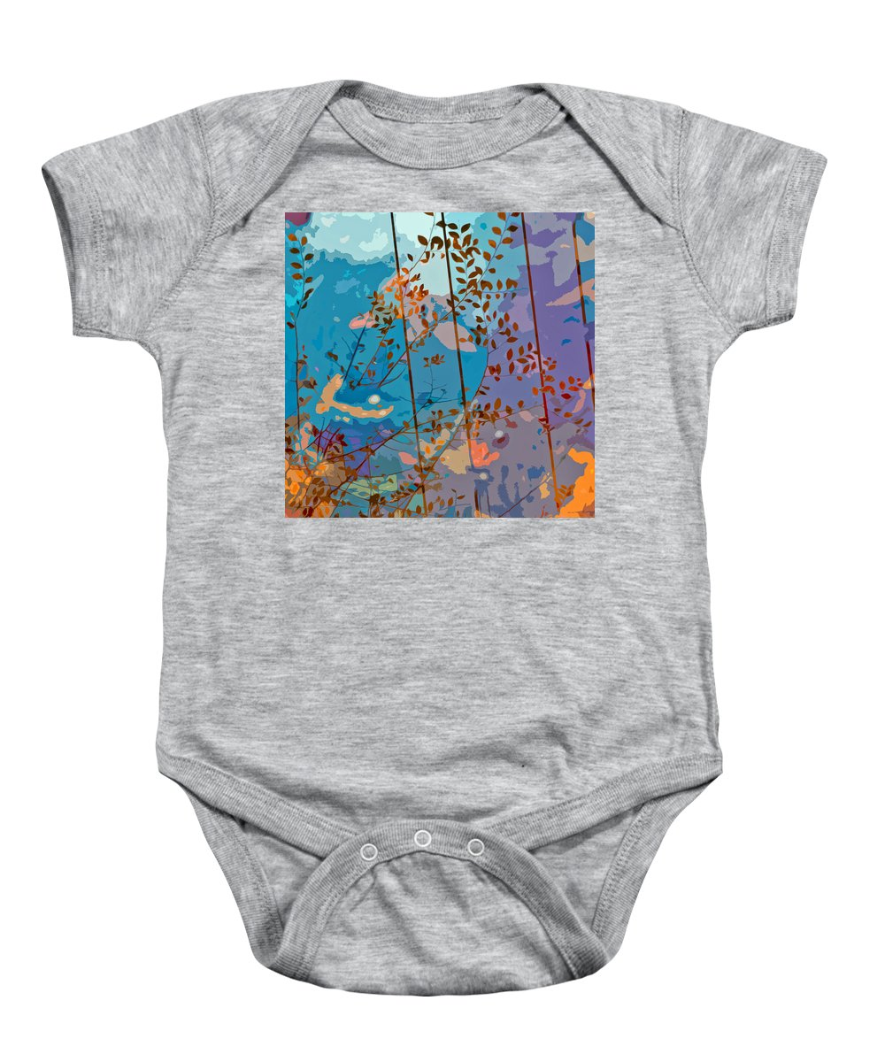 Leaves Baby Onesie featuring the painting Leaves And Wire by Stephen Anderson