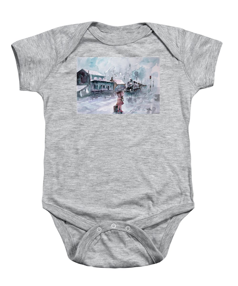 Station Baby Onesie featuring the painting Leaving... by Faruk Koksal