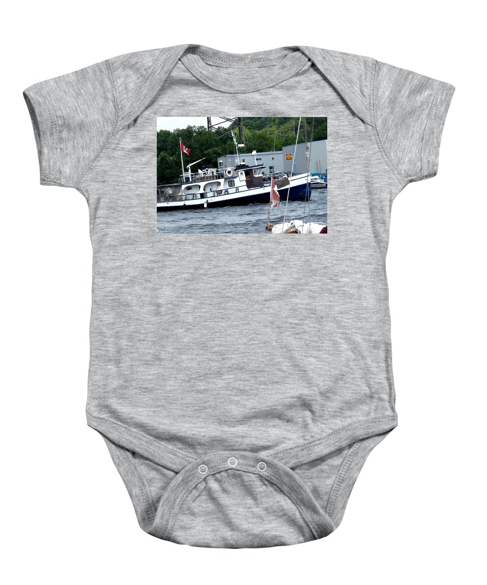 Boat Baby Onesie featuring the photograph Leaving Harbor by Ian MacDonald