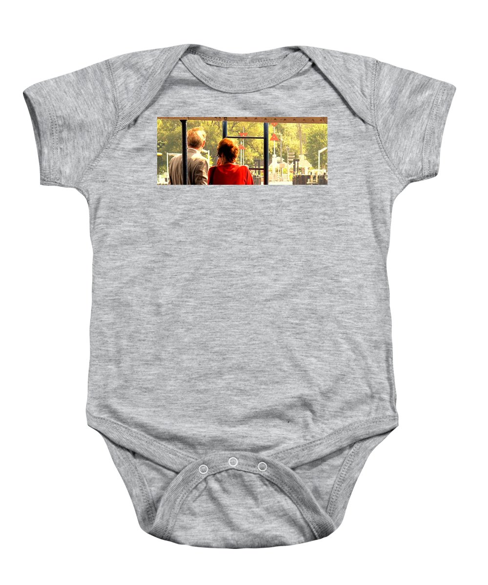 Toronto Baby Onesie featuring the painting Leaving by Ian MacDonald