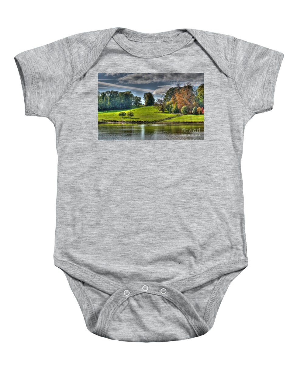 Leeds Castle Baby Onesie featuring the photograph Leeds Castle Lake View by Chris Thaxter