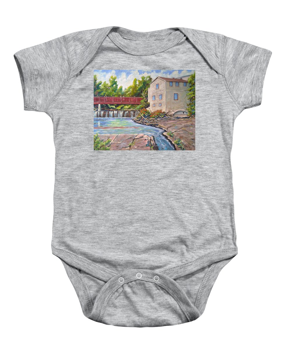 Mill Baby Onesie featuring the painting Legare Mill by Richard T Pranke
