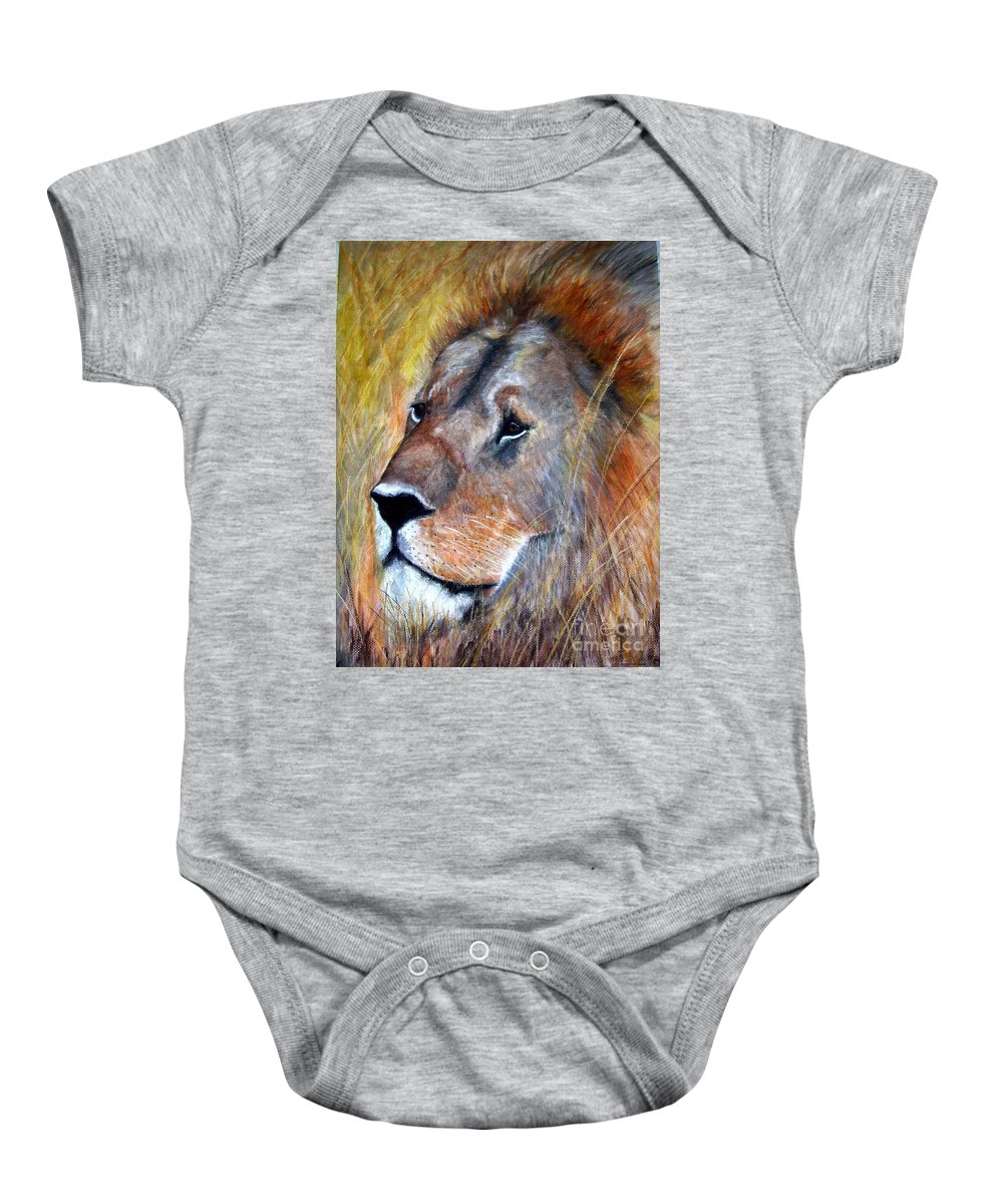 Lion Baby Onesie featuring the painting leo by Frances Marino