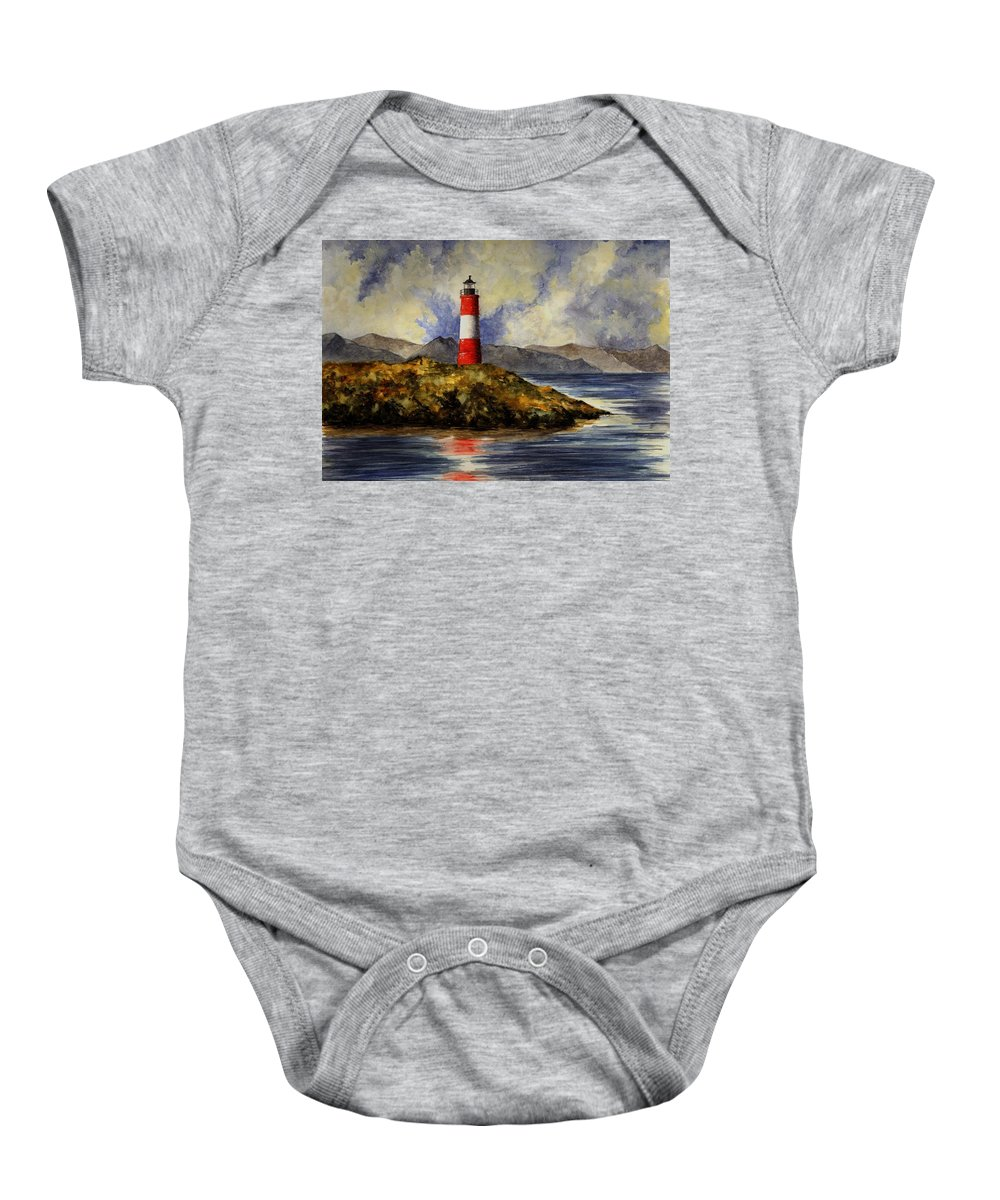 Lighthouse Baby Onesie featuring the painting Les Eclaireurs Lighthouse by Michael Vigliotti