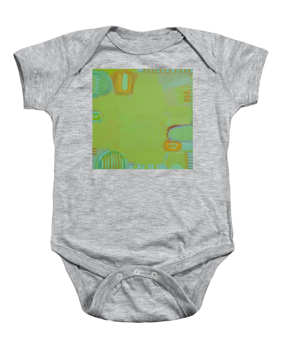 Peace Colors Abstract Modern Contemporary Baby Onesie featuring the painting Let It Be Green by Habib Ayat