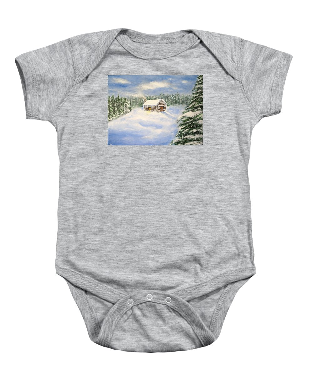 Log Cabin Baby Onesie featuring the painting Let It Snow by Lisa Cini
