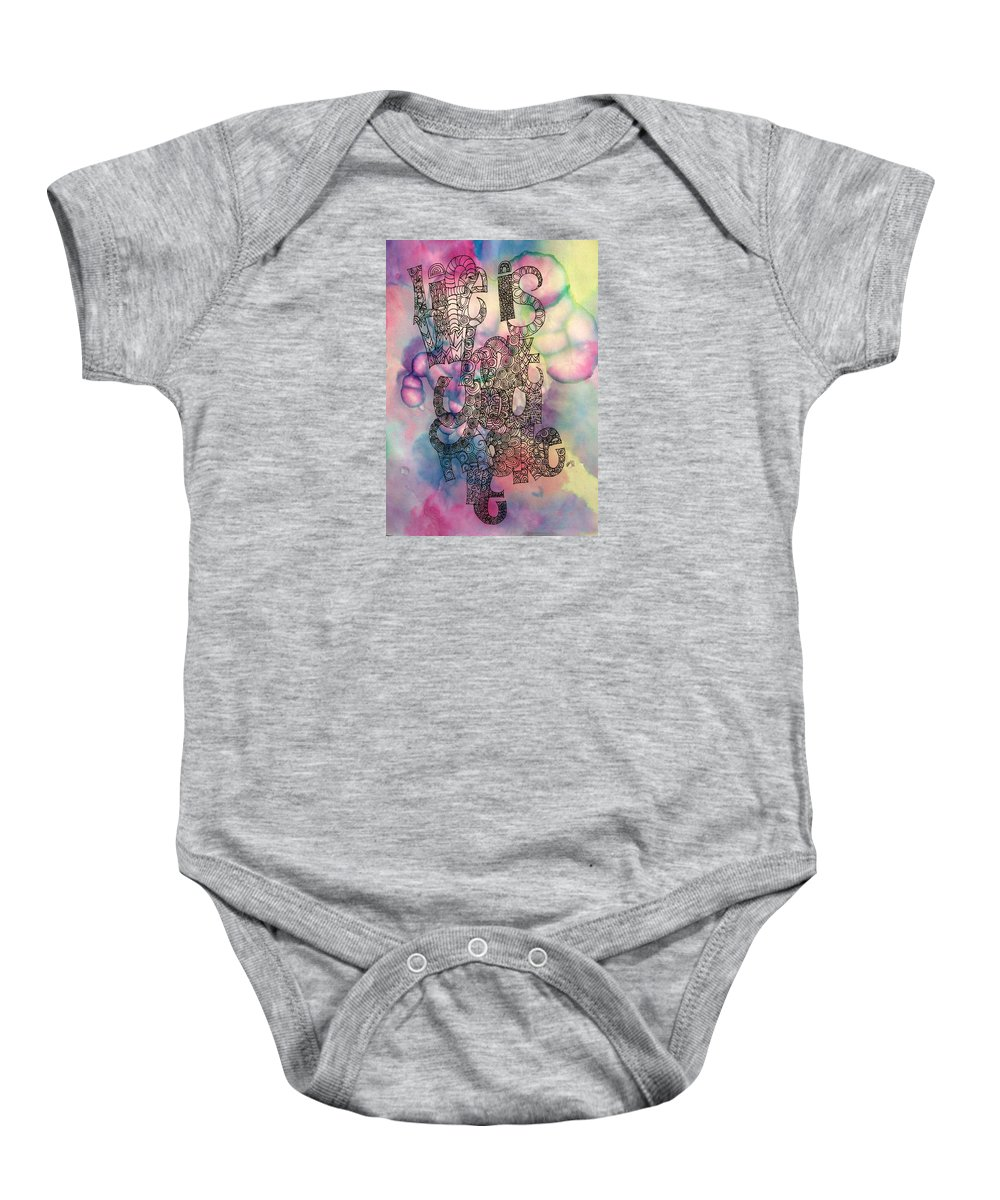 Life Is What You Make It Baby Onesie featuring the drawing Life Is What You Make It by Alison Easdown