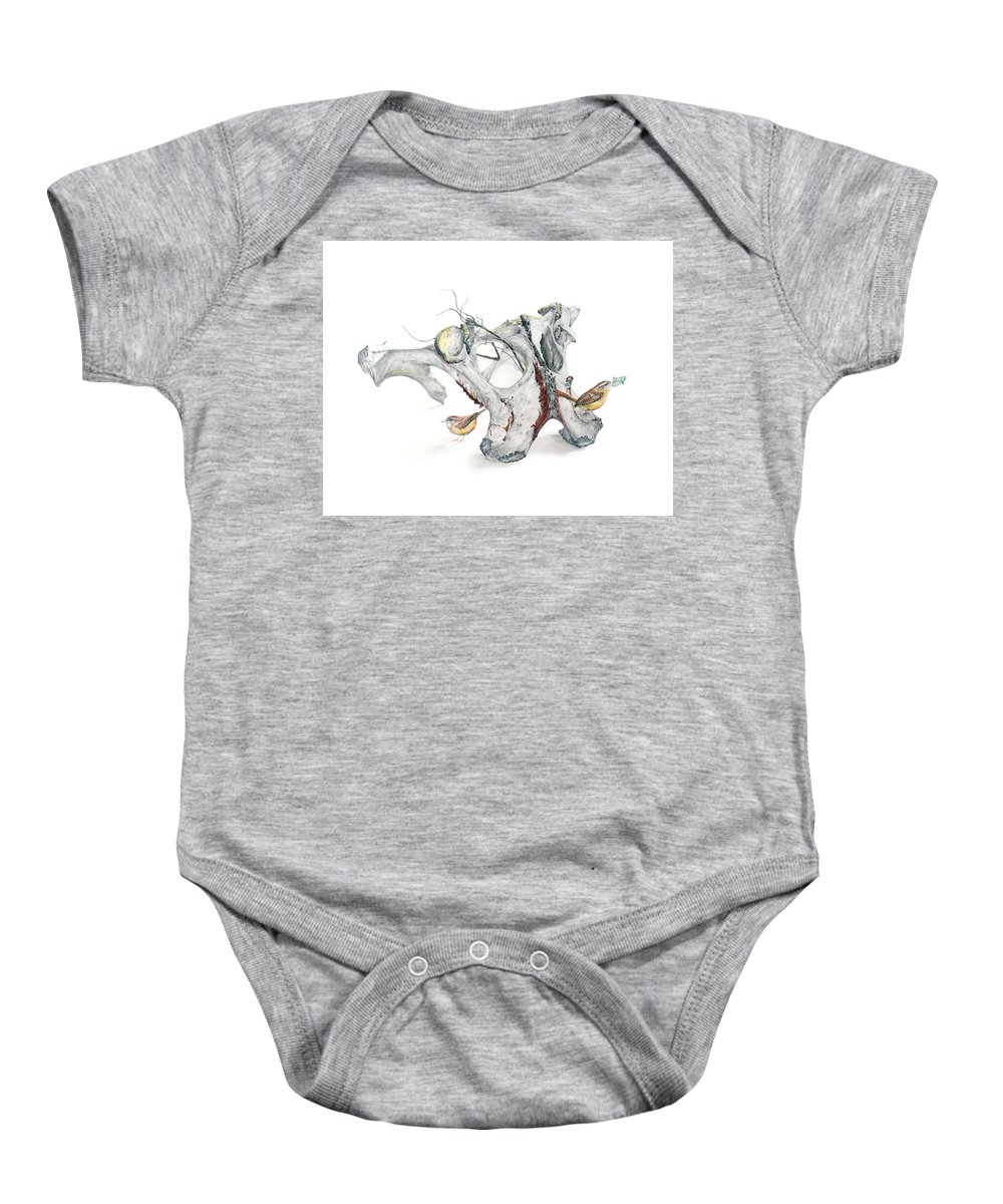 Bones Baby Onesie featuring the drawing Life With Carolina Wrens by Becky Brooks